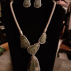 Gray Faceted Necklace and Earring Set